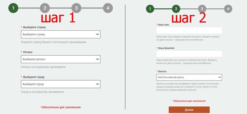 Регистрация по е-мэйл шаг 1 и 2